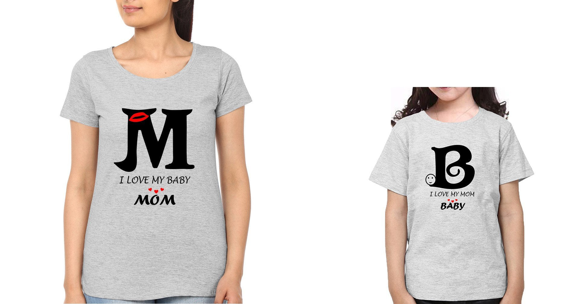 ektarfa.com Mother Daughter T-Shirts I Love My Mom I Love My Baby Mother Daughter T-Shirts