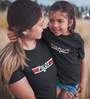 ektarfa.com Mother Daughter T-Shirts Pilot & Co-Pilot Mother Daughter T-Shirts