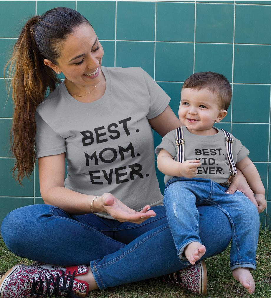 ektarfa.com Mother Son T-shirts Best Mom Ever Best Kid Ever T-Shirts