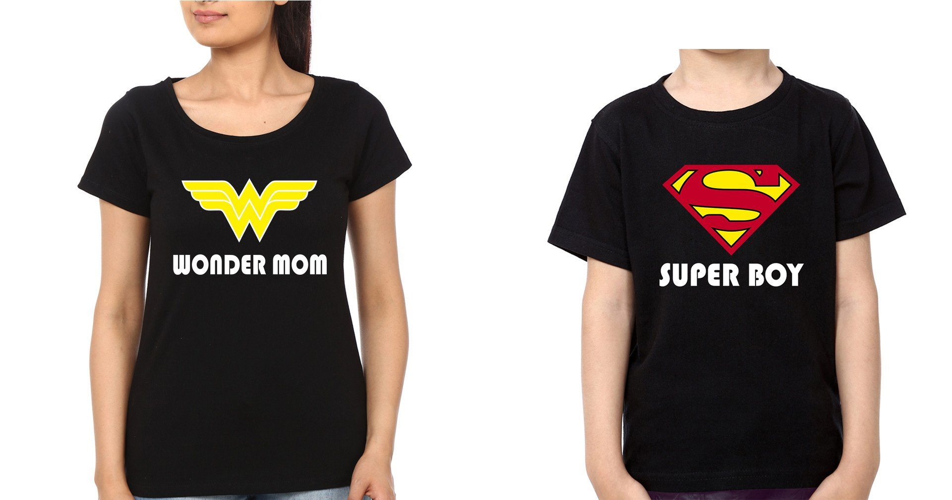 ektarfa.com Mother Son T-shirts Wonder Mom Super Boy T-Shirts