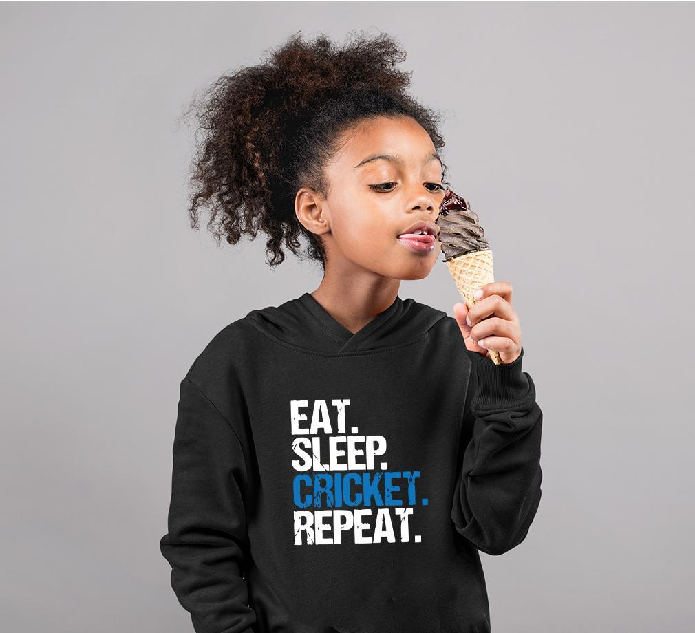Ektarfa Garments Girls Hoodies CRICKET Eat Sleep Cricket Repeat Hoodie for Girl