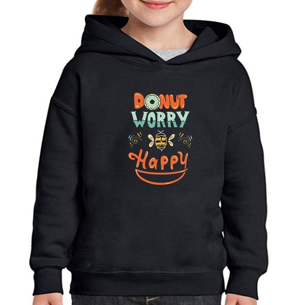 Ektarfa Garments Girls Hoodies Donut Worry Be Happy Hoodie for Girl