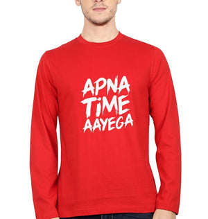 Ektarfa Garments Men Full Sleeves T-Shirts Apna Time Aayega Full Sleeves T-Shirt for Men