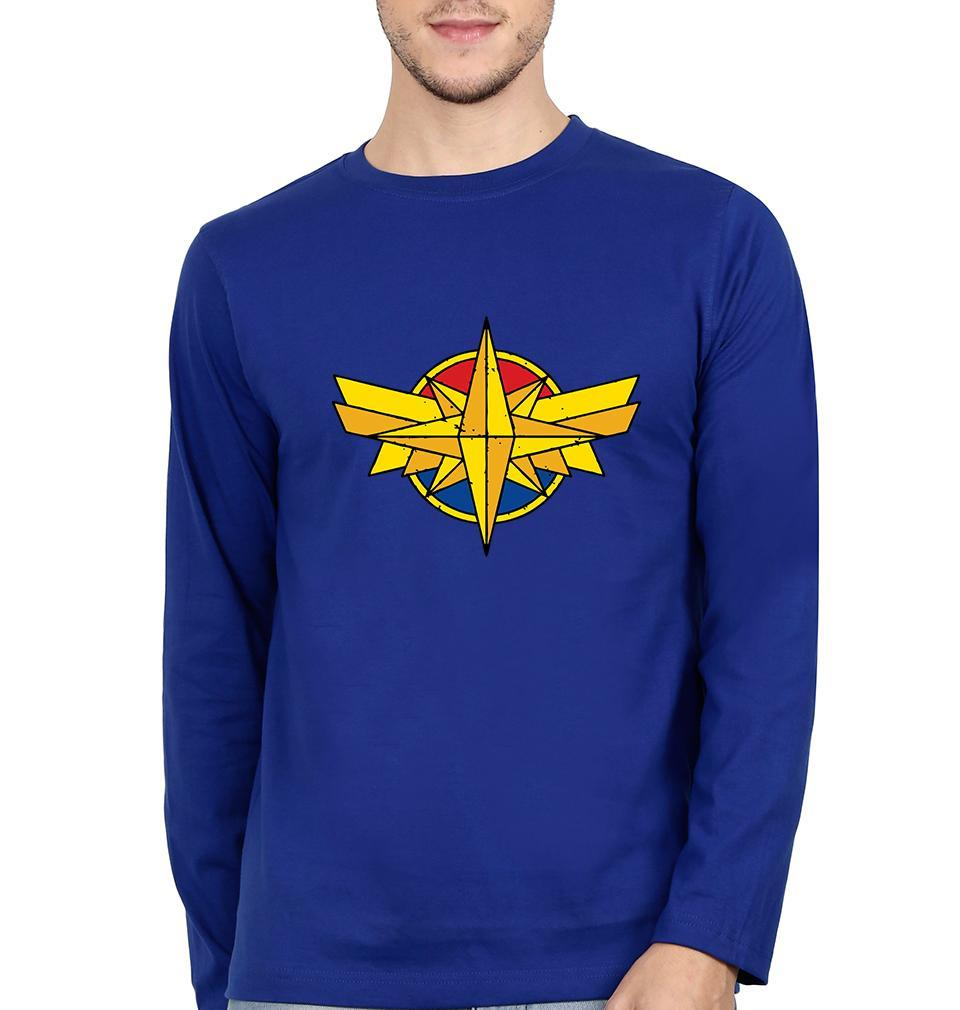 Ektarfa Garments Men Full Sleeves T-Shirts Captain Marvel Logo Full Sleeves T-Shirt for Men