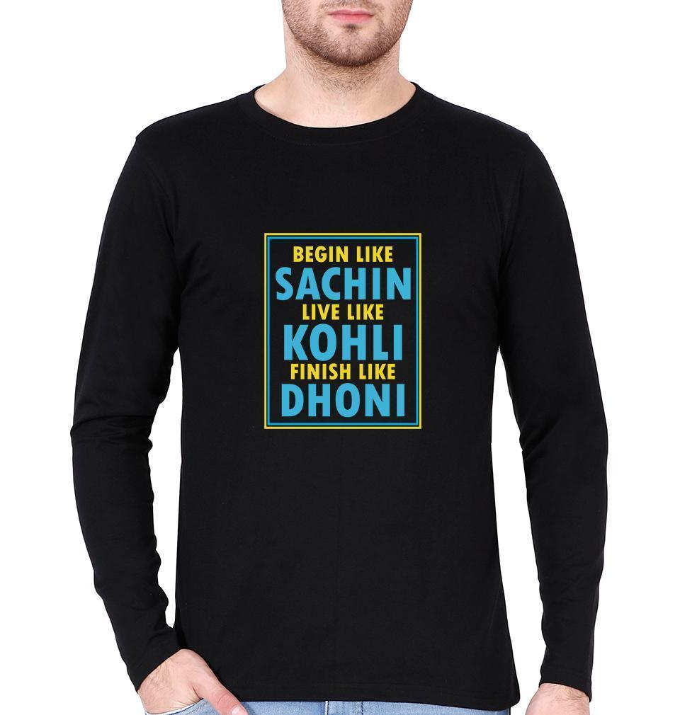 Ektarfa Garments Men Full Sleeves T-Shirts CRICKET Sachin Kohli Dhoni Full Sleeves T-Shirt for Men