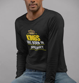 Ektarfa Garments Men Full Sleeves T-Shirts Kings Are Born In January Full Sleeves T-Shirt for Men