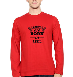 Ektarfa Garments Men Full Sleeves T-Shirts Legends are Born in April Full Sleeves T-Shirt for Men