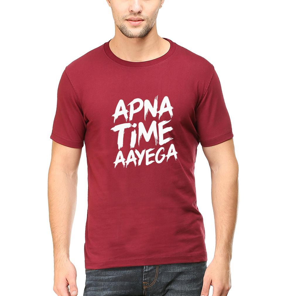 Ektarfa Garments Men Half Sleeves T-Shirts Apna Time Aayega T-Shirt for Men