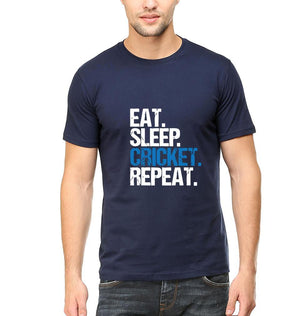 Ektarfa Garments Men Half Sleeves T-Shirts CRICKET Eat Sleep Cricket Repeat T-Shirt for Men