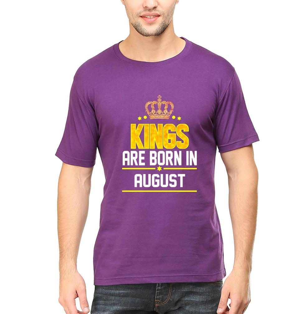 Ektarfa Garments Men Half Sleeves T-Shirts Kings Are Born In August T-Shirt for Men