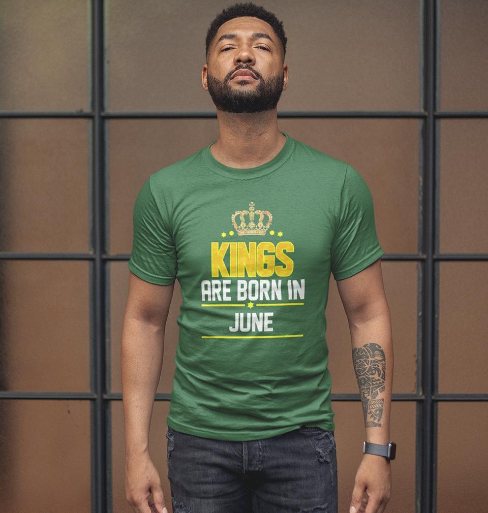 Ektarfa Garments Men Half Sleeves T-Shirts Kings Are Born In June T-Shirt for Men