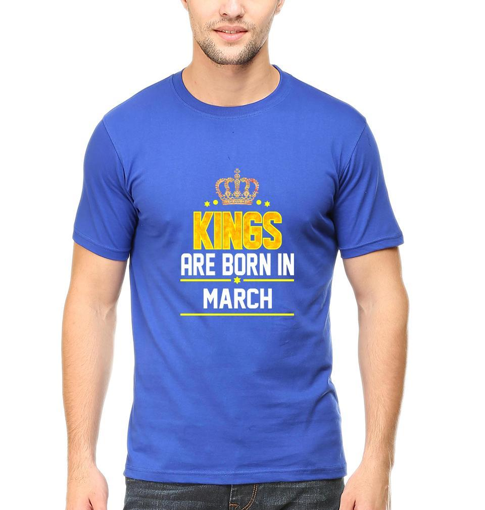 Ektarfa Garments Men Half Sleeves T-Shirts Kings Are Born In March T-Shirt for Men