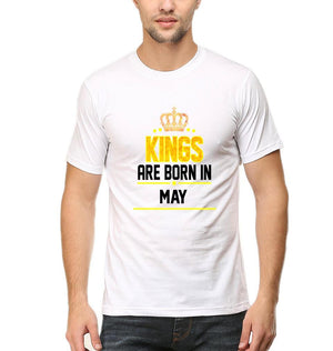 Ektarfa Garments Men Half Sleeves T-Shirts Kings Are Born In May T-Shirt for Men