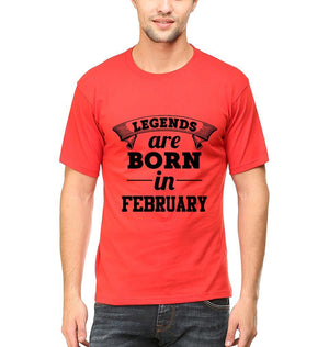 Ektarfa Garments Men Half Sleeves T-Shirts Legends Are Born In February T-Shirt for Men