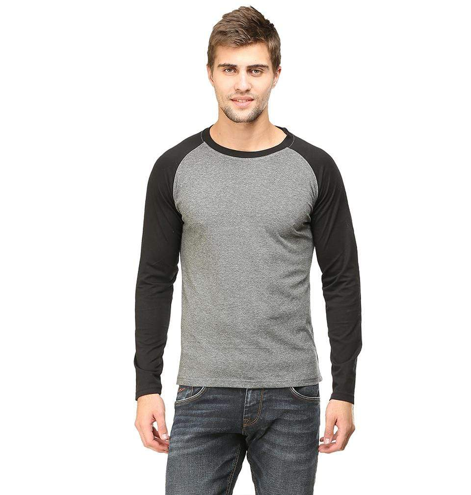 Ektarfa Garments Men Plain T-Shirts & Hoodies Plain Black-Charcoal Raglan Full Sleeves T-Shirt