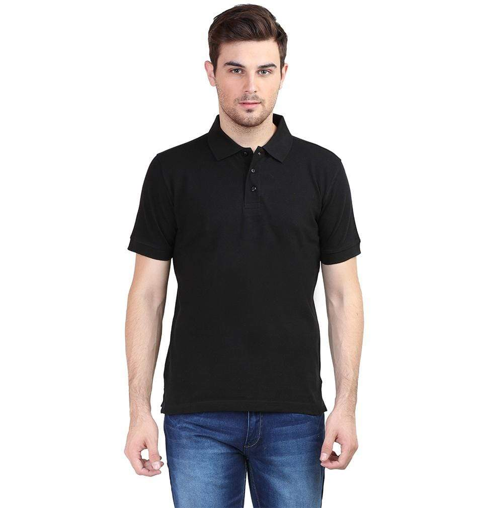 Ektarfa Garments Men Plain T-Shirts & Hoodies Plain Black Polo T-Shirt