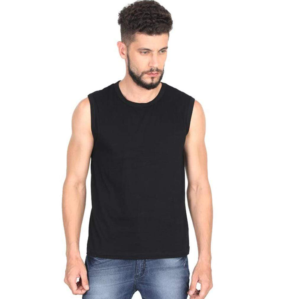 Ektarfa Garments Men Plain T-Shirts & Hoodies Plain Black Sleeveless T-Shirt