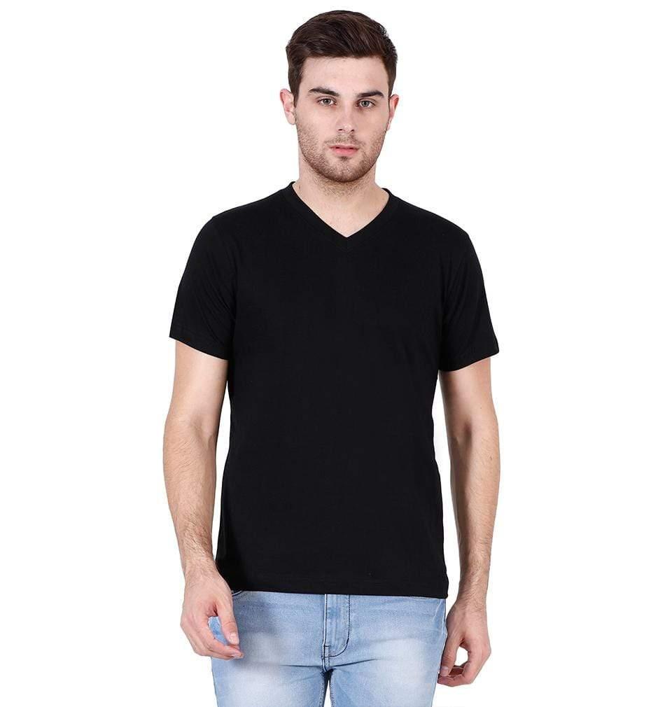 Ektarfa Garments Men Plain T-Shirts & Hoodies Plain Black V Neck T-Shirt