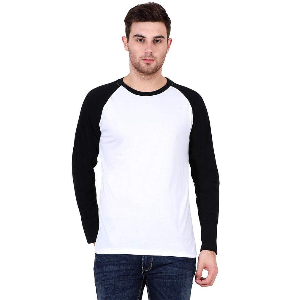 Ektarfa Garments Men Plain T-Shirts & Hoodies Plain Black-White Raglan Full Sleeves T-Shirt