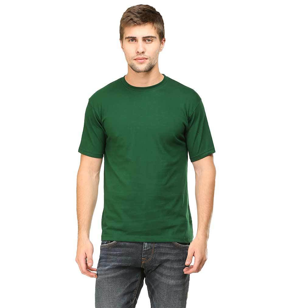Ektarfa Garments Men Plain T-Shirts & Hoodies Plain Dark Green Half Sleeves T-Shirt