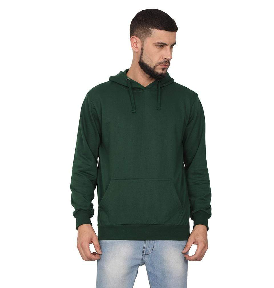 Ektarfa Garments Men Plain T-Shirts & Hoodies Plain Dark Green Hoodie Sweatshirt