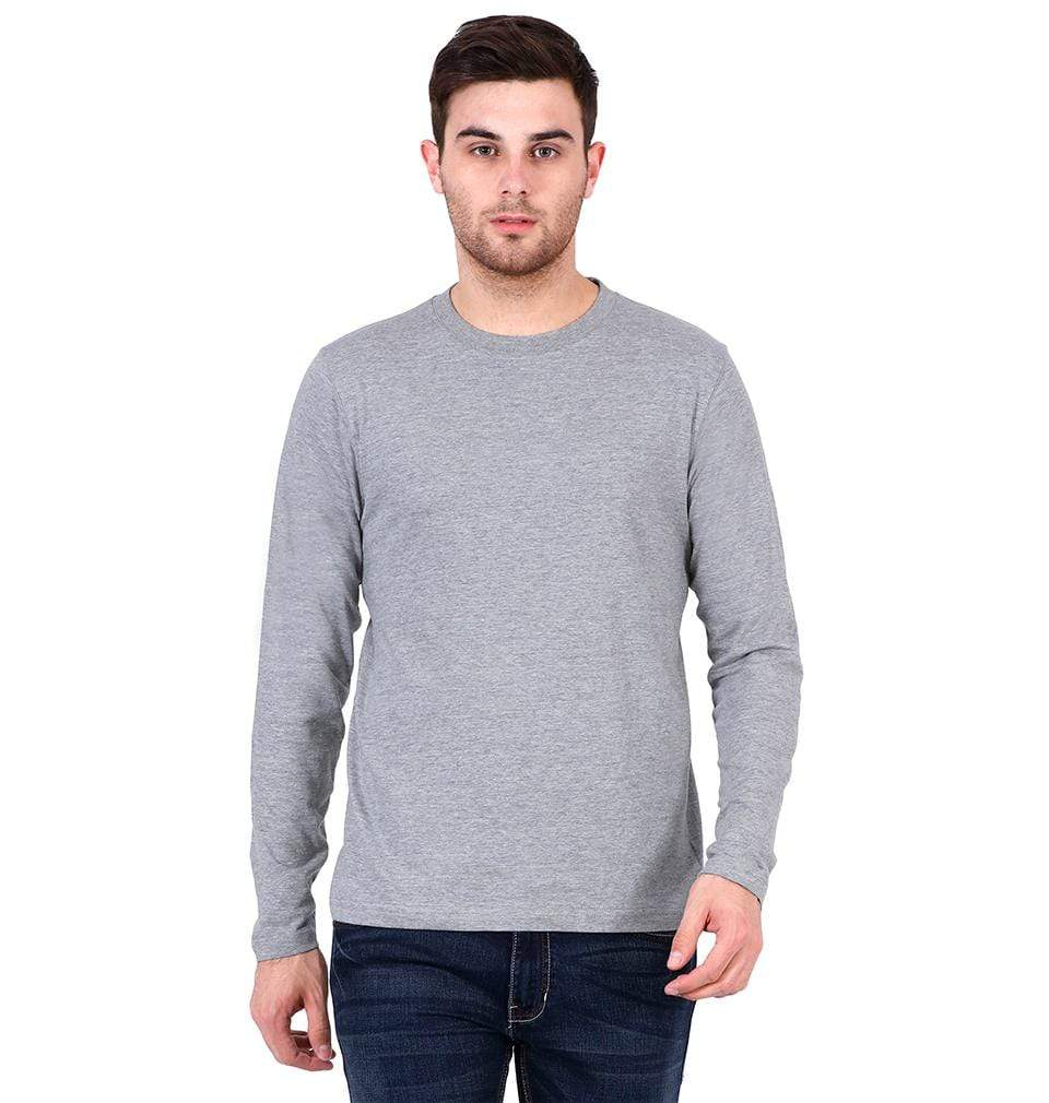 Ektarfa Garments Men Plain T-Shirts & Hoodies Plain Grey Melange Full Sleeves T-Shirt