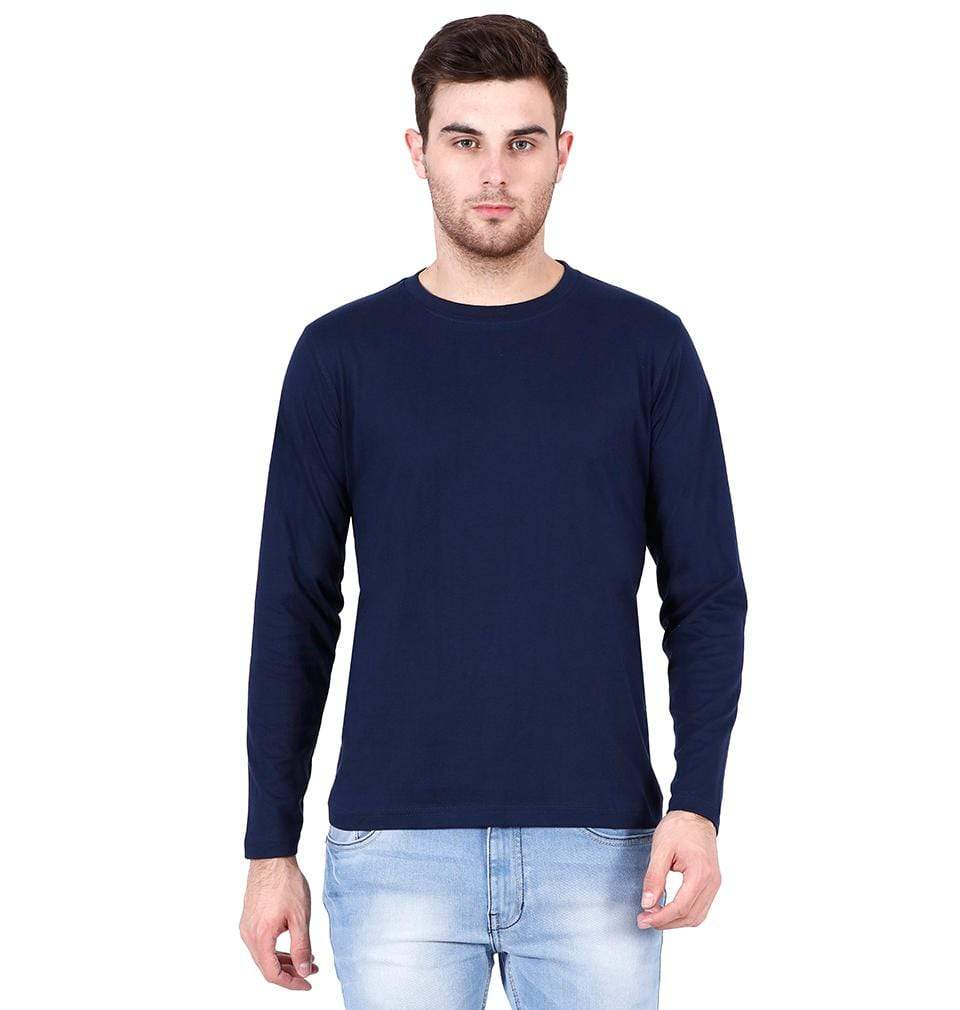 Ektarfa Garments Men Plain T-Shirts & Hoodies Plain Navy Blue Full Sleeves T-Shirt