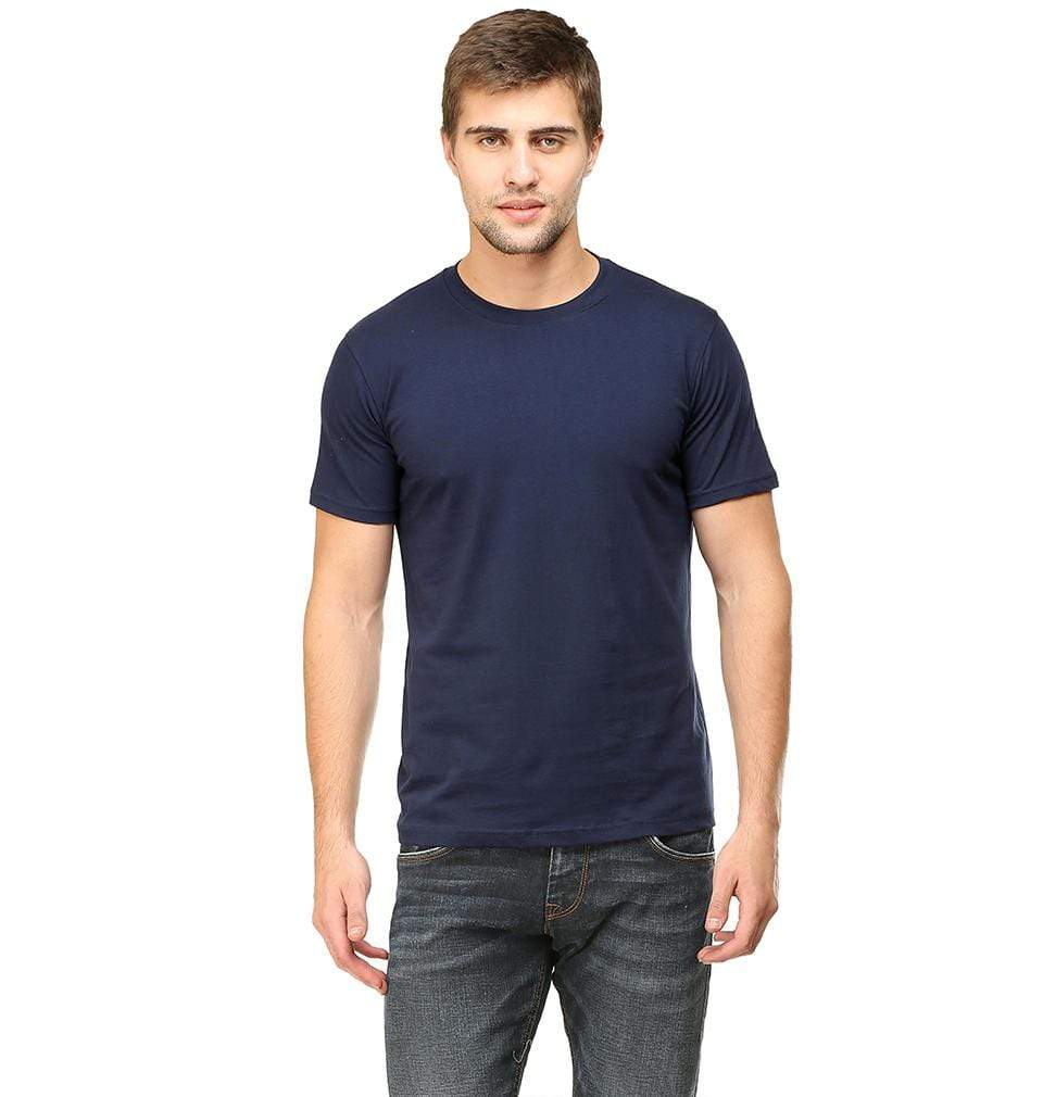 Ektarfa Garments Men Plain T-Shirts & Hoodies Plain Navy Blue Half Sleeves T-Shirt