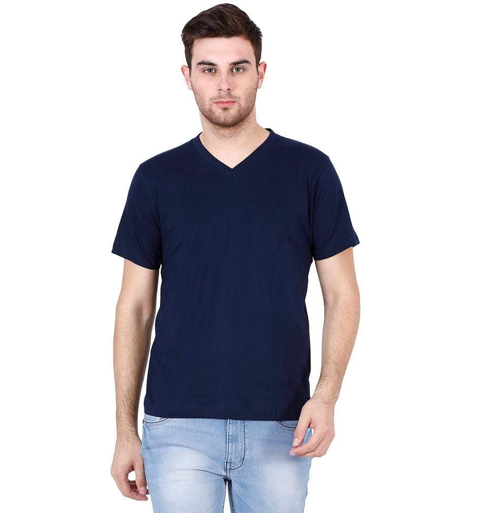 Ektarfa Garments Men Plain T-Shirts & Hoodies Plain Navy Blue V Neck T-Shirt