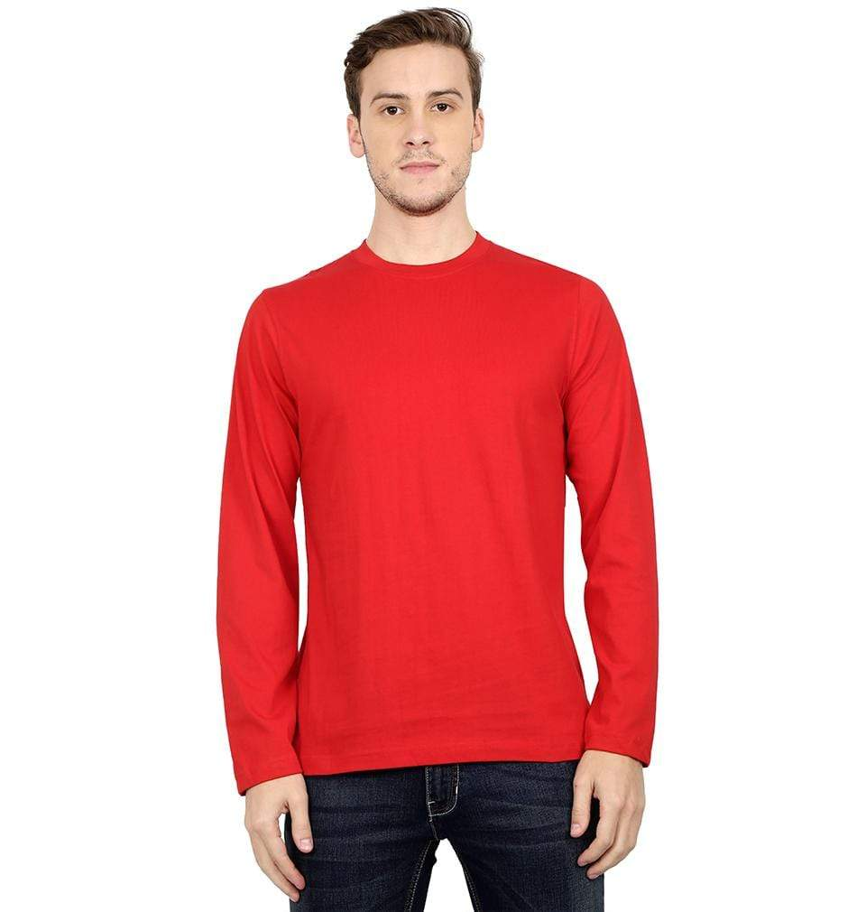 Ektarfa Garments Men Plain T-Shirts & Hoodies Plain Red Full Sleeves T-Shirt