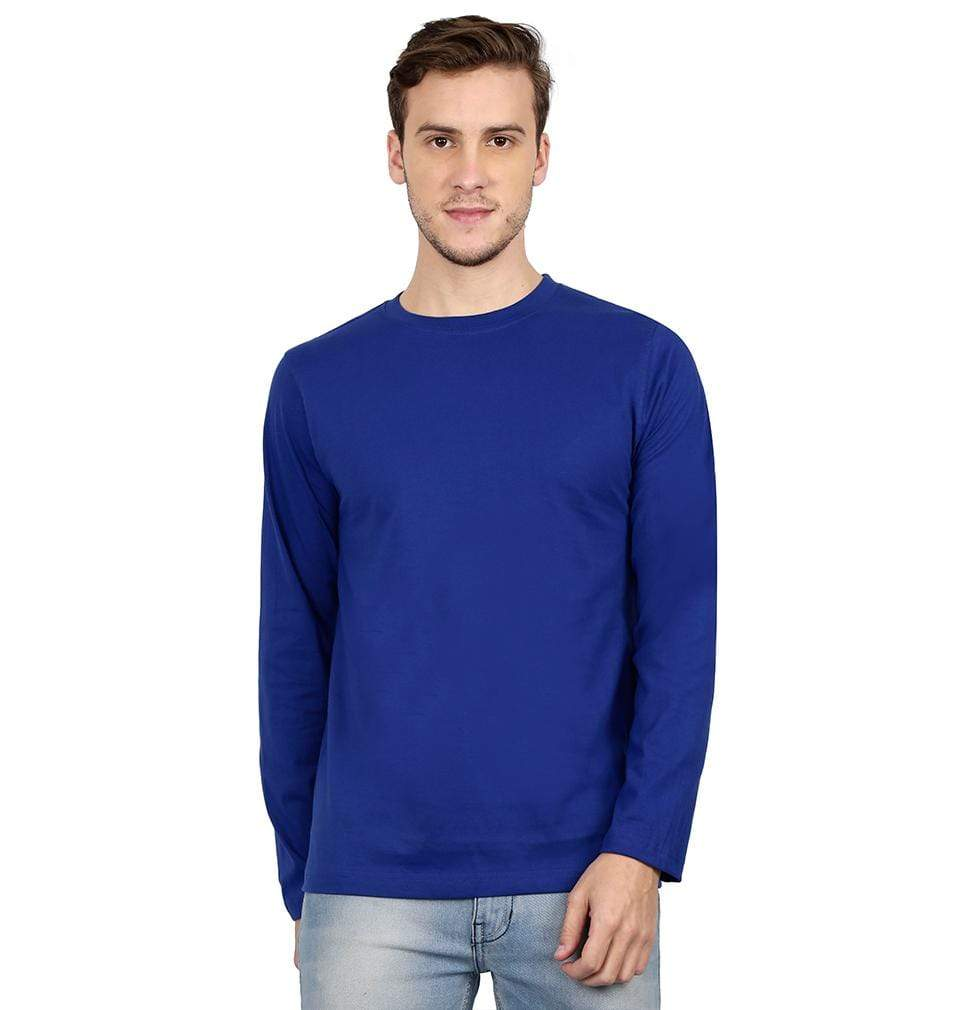 Ektarfa Garments Men Plain T-Shirts & Hoodies Plain Royal Blue Full Sleeves T-Shirt