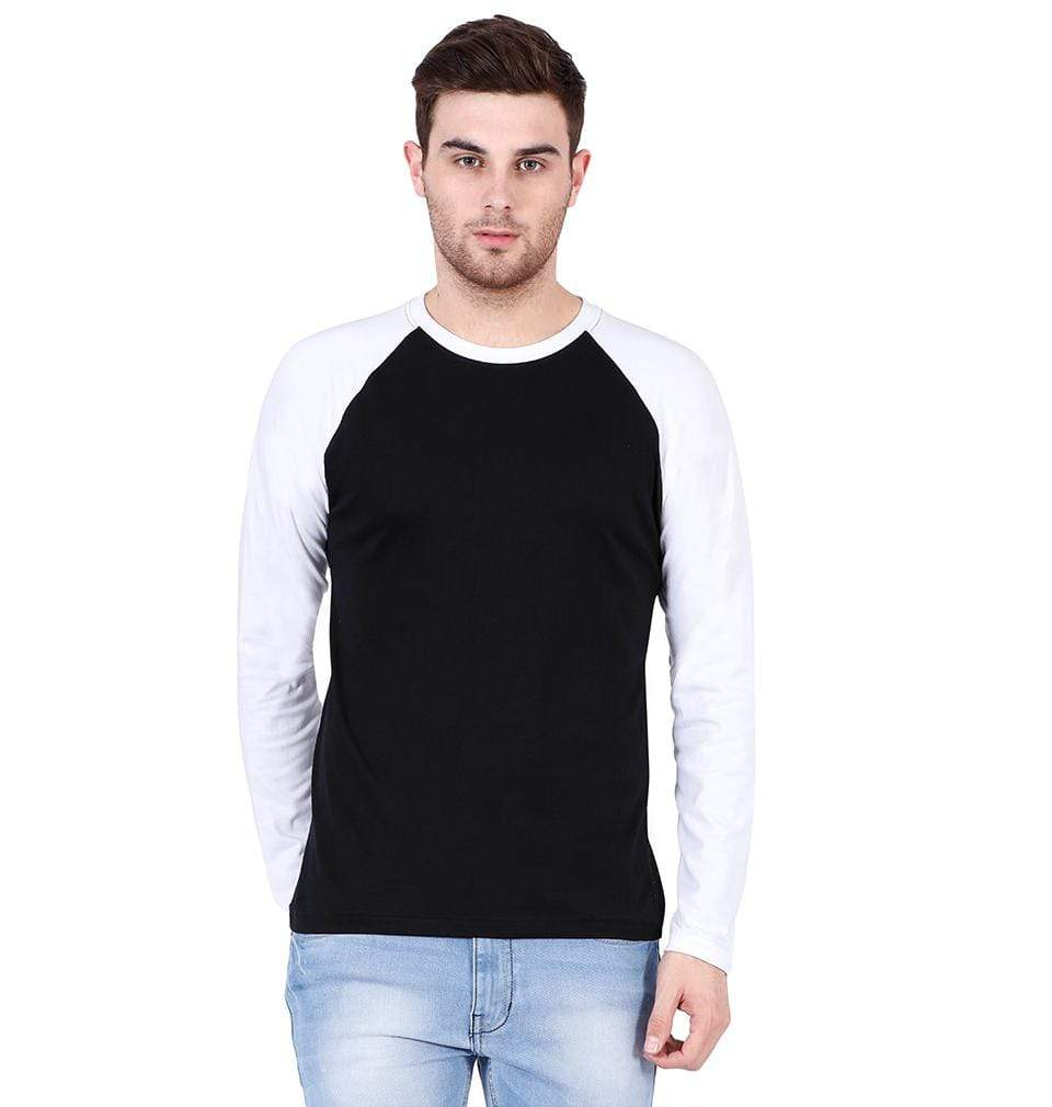 Ektarfa Garments Men Plain T-Shirts & Hoodies Plain White-Black Raglan Full Sleeves T-Shirt