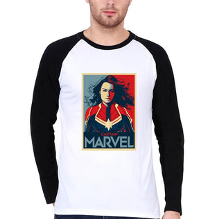 Ektarfa Garments Men Raglan T-Shirts Captain Marvel Superhero Raglan Full Sleeves T-Shirt for Men