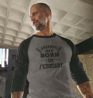 Ektarfa Garments Men Raglan T-Shirts Legends are Born in February Raglan Full Sleeves T-Shirt for Men