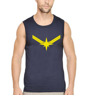 Ektarfa Garments Men Sleeveless T-Shirts Captain Marvel Logo Sleeveless T-Shirt for Men