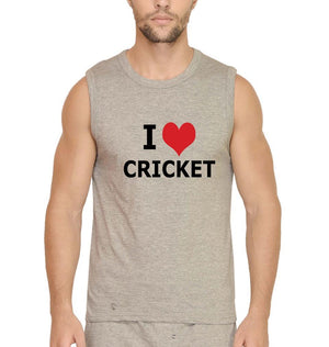 Ektarfa Garments Men Sleeveless T-Shirts Love Cricket Sleeveless T-Shirt for Men