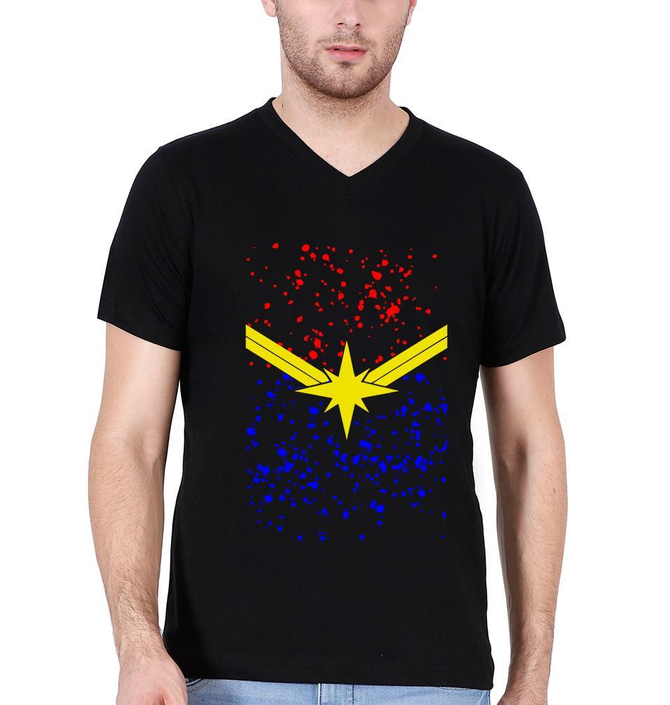 Ektarfa Garments Men V Neck Half Sleeves T-Shirts Captain Marvel Logo V Neck T-Shirt for Men