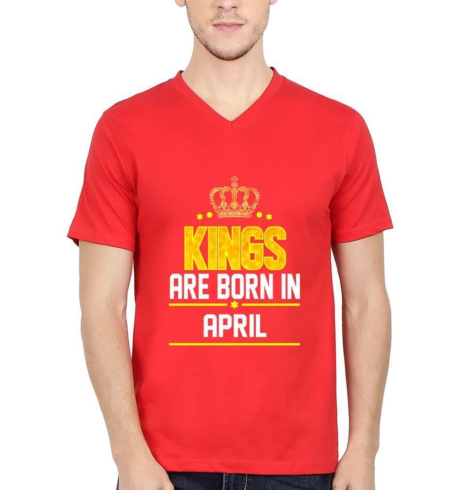 Ektarfa Garments Men V Neck Half Sleeves T-Shirts Kings Are Born In April V Neck T-Shirt for Men