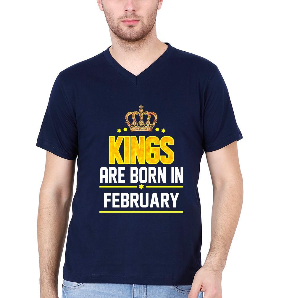 Ektarfa Garments Men V Neck Half Sleeves T-Shirts Kings Are Born In February V Neck T-Shirt for Men