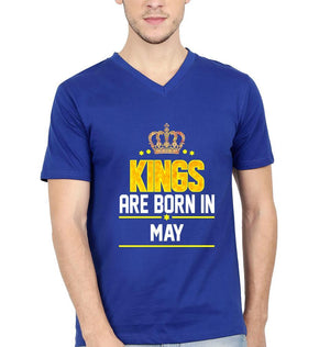 Ektarfa Garments Men V Neck Half Sleeves T-Shirts Kings Are Born In May V Neck T-Shirt for Men