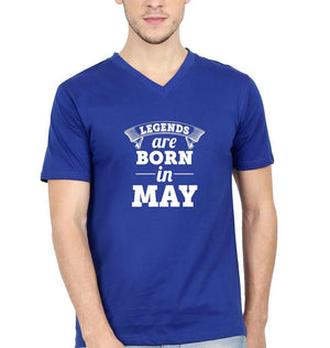 Ektarfa Garments Men V Neck Half Sleeves T-Shirts Legends are Born in May V Neck T-Shirt for Men