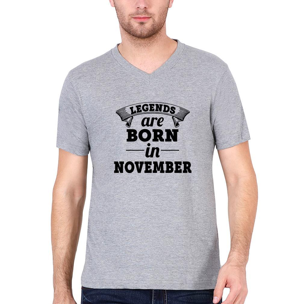 Ektarfa Garments Men V Neck Half Sleeves T-Shirts Legends are Born in November V Neck T-Shirt for Men