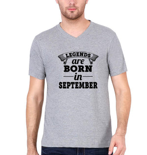 Ektarfa Garments Men V Neck Half Sleeves T-Shirts Legends are born in september V Neck T-Shirt for Men