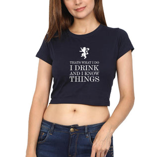 Ektarfa Garments Women Crop Top GOT Game of Thrones I Drink  And Know Things Crop Top for Women