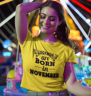 Ektarfa Garments Women Crop Top Legends are Born in November Crop Top for Women