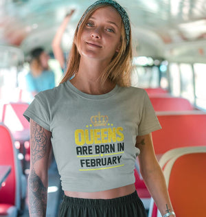 Ektarfa Garments Women Crop Top Queens Are  Born In February Crop Top for Women
