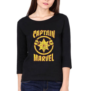 Ektarfa Garments Women Full Sleeves T-Shirts Captain Marvel Full Sleeves T-Shirt for Women