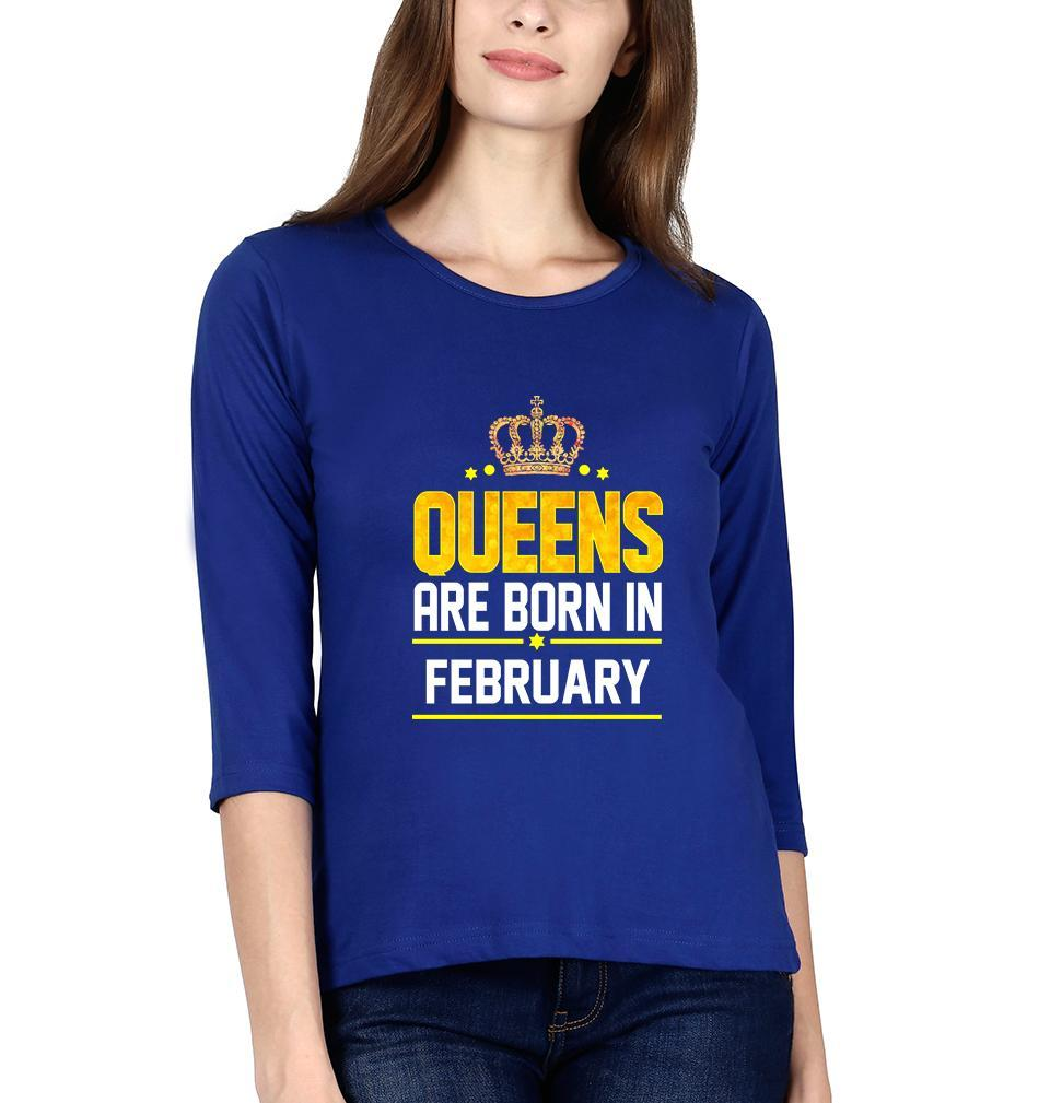 Ektarfa Garments Women Full Sleeves T-Shirts Queens Are  Born In February Full Sleeves T-Shirt for Women