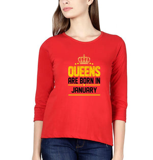 Ektarfa Garments Women Full Sleeves T-Shirts Queens Are Born In January Full Sleeves T-Shirt for Women