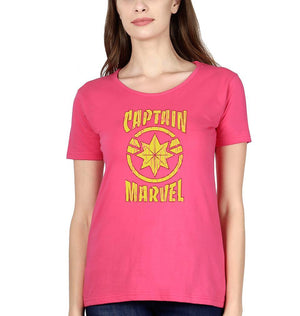 Ektarfa Garments Women Half Sleeves T-Shirts Captain Marvel T-Shirt for Women